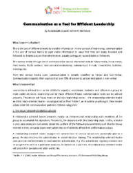 Training – Communication for efficient leadership