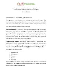 Training – Emotional Intelligence and Transformational leadership